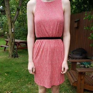 Adorable Salmon Colored Patterned Dress from LOFT